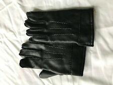 Avon Leather Rabbit Fur Lined Black Men Gloves Size M Winter Warm WPL11928