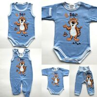 NEW BABY BOY 0-24 Months BLUE TIGER SET - BODYSUIT TROUSERS DUNGAREE 100%COTTON