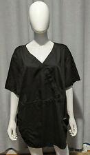 Greys Anatomy Barco Size 5XL Short Sleeve VNeck 2 Pocket Black Scrub Top Shirt
