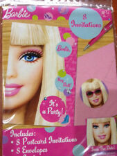 Disney Barbie Girls Birthday Party Invitations Invites Pack 8