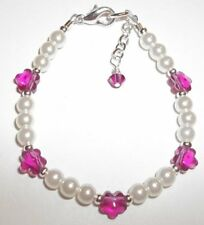 Newborn Baby Bracelet Fuchsia Pink Flower, Pearl & Silver made w Swarovski