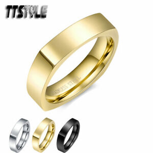 TTStyle 5mm Stainless Steel Square Wedding Band Ring Size 5-11 3 Colours NEW