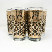 Libbey Prudential Glasses Set of 5 Tumblers High Ball Black & Gold Retro MCM