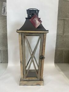Home decorators large Wooden weathered lantern with glass