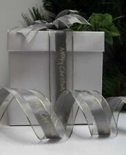 2 METRES QUALITY RIBBON MERRY CHRISTMAS SILVER GOLD WORD GIFT WRAPPING CRAFT