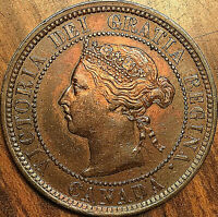 1887 CANADA LARGE CENT PENNY LARGE 1 CENT COIN - 7 / 7 - Fantastic example!