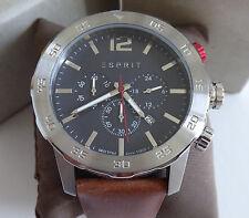 XXL BIG Esprit ES109171004 Herrenuhr Chronograph Lederarmband Uhr UVP 159.90€