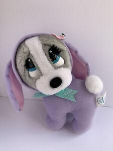 Applause Easter Sad Sam Honey Hound Gray Dog Plush Vintage Purple Bunny Suit Bow