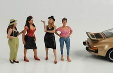 1:24 Figurines Hanging Out Cool Set 4 Pcs Woman American Diorama