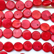 Dyed Red Bamboo Coral Large Coin Semi Precious Stone Beads Q20 Beads per Pkg