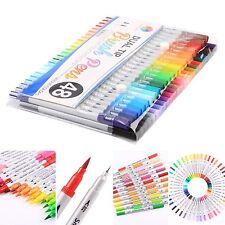Dual Tip Brush Pens with Fineliner Tip 0.4 48 Unique Colors Smart Color Art