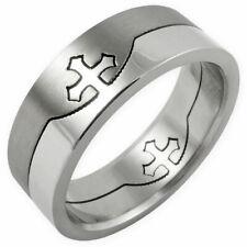 Puzzle Bandring Finger-Ring Edelstahl Tempelritter Freimaurer Templer Kreuz