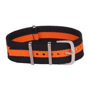 18mm 20mm 22mm 24mm Orange Black Watchband Nylon Watch Strap Wristwatch Band