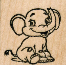 """mounted  rubber stamps  Baby Elephant   wood mount 1 1/2"""" X 1 1/2"""""""