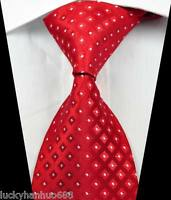 New Classic Checks Red White JACQUARD WOVEN 100% Silk Men's Tie Necktie