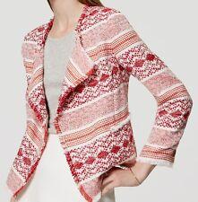 NWT $108 Ann Taylor LOFT Textured Fringe Open Jacket Size 4
