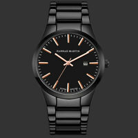 Men's Quartz Watch Stainless Steel Strap Date Analog Display Sport Black Luxury