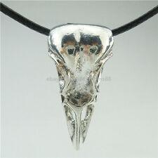 "Skeleton Bird Crow Amulet Raven Skull Pendant 16"" Collar Choker Necklace 12991"