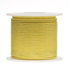 """26 AWG Gauge Stranded Hook Up Wire Yellow 500 ft 0.0190"""" PTFE 600 Volts"""
