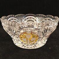 "Bohemian Czech Amber Gold Cut to Clear Crystal Serving Bowl 8.75"" Diameter x 4"""