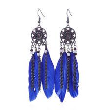 Women Boho Dream Catcher Feather Tassel Ear Beads Dangle Earrings Royal blue