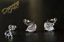 Cute Little 18k White Gold Plated AAA Zircon Swan Stud Earrings