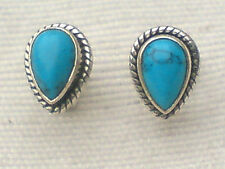 STERLING SILVER 10mm STUD EARRINGS with TURQUOISE CABOCHON STONES £12.50 NWT