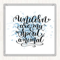 Blue White Unicorn Spirit Animal Inspirational Quote Drinks Mat Coaster