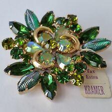 "Vintage  KRAMER  Green Rhinestone Pin  Brooch  2 1/2"""