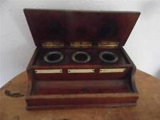 More details for antique solid mahogany inkwell pen stand desk study fabulous original condition