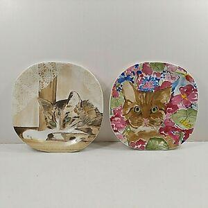 Minou-ettes by C.Pradelie Cat Plates Collection Coeur Zrike Portugal 1985 VTG