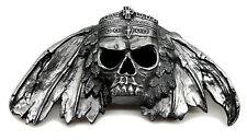 Cranio Fibbia della Cintura piena 3d TESCHIO E CORONA Gothic Heavy autentico prodotto pagane