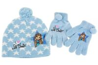 Lil' Bratz Girl's Blue Knit Winter Hat & Gloves Set Sz. 4-6X