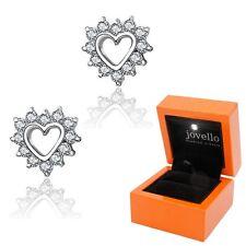 Top Herz Heart Zirkonia Ohrstecker Ohrstick aus echt 925 Silber + Luxus LED Box