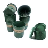 6 Pcs 1 Gallon Green Printed Plastic Pots with Tray for Garden Indoor / Outdoor