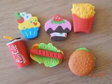 6 Food themed Erasers Rubbers Party Bag Treat Eraser Novelty Burger/cake