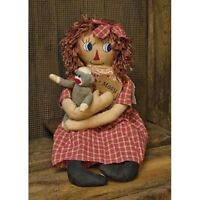 New Primitive Country Folk Art Macy RAGGEDY ANN DOLL With SOCK MONKEY 23""