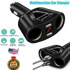 Car Cigarette Lighter Socket Splitter DC 12V Dual USB Charger Power Adapter SAlE