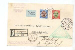ICELAND 1931 CARD ZEPPELIN FLOWN - 30a & 1k ZEPPELIN