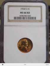 1954 S NGC MS 66 RD Gem Lincoln Wheat Cent