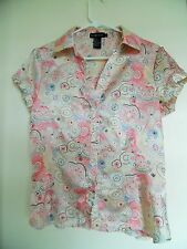 Rampage Floral Shirt Button Front Top  Short Sleeve Blouse size Large
