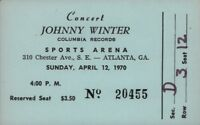 JOHNNY WINTER 1970 TOUR ATLANTA SPORTS ARENA ORIGINAL CONCERT TICKET / HANDBILL