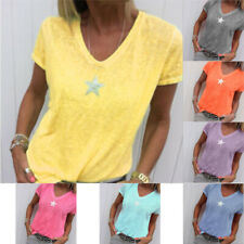 Women Loose Solid  V Neck Casual T Shirt Print Short Sleeve Summer Tops Blouse
