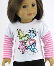 """Colorful Horse 2fer Long Sleeve T Shirt Made for American Girl 18"""" Doll Clothes"""