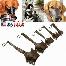 Us Adjustable Anti-Biting Dog Soft Pu Leather Muzzles Mouth Mesh Safety Pet Mask