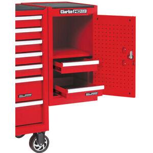 Clarke SL26B 2 Drawer Side Locker Cabinet Tool Box Storage Lockable Steel Red