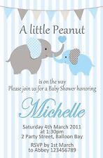 Personalised Baby Shower Elephant Invites Boy Girl Green Birth Invitations New