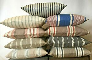 "Large Ticking Herringbone 22"" Cushion Covers Striped Cotton 55cm 8 colours"
