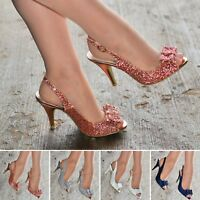 Ladies Glitter Bow Slingback Shoe Peep toe Party High Heel Court Shoes Evening