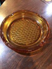 "Vintage Cigar Ashtray Amber 8"" Round Glass Waffle Design 4 Cigar Slots Beautiful"